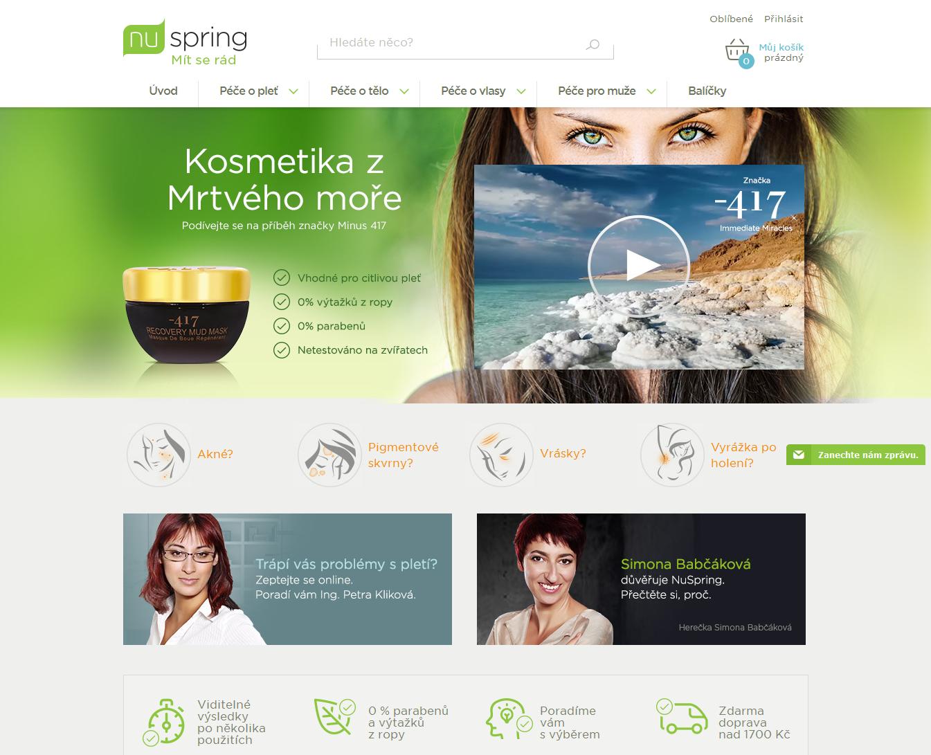 NuSpring.cz homepage kosmetika Mrtvého moře
