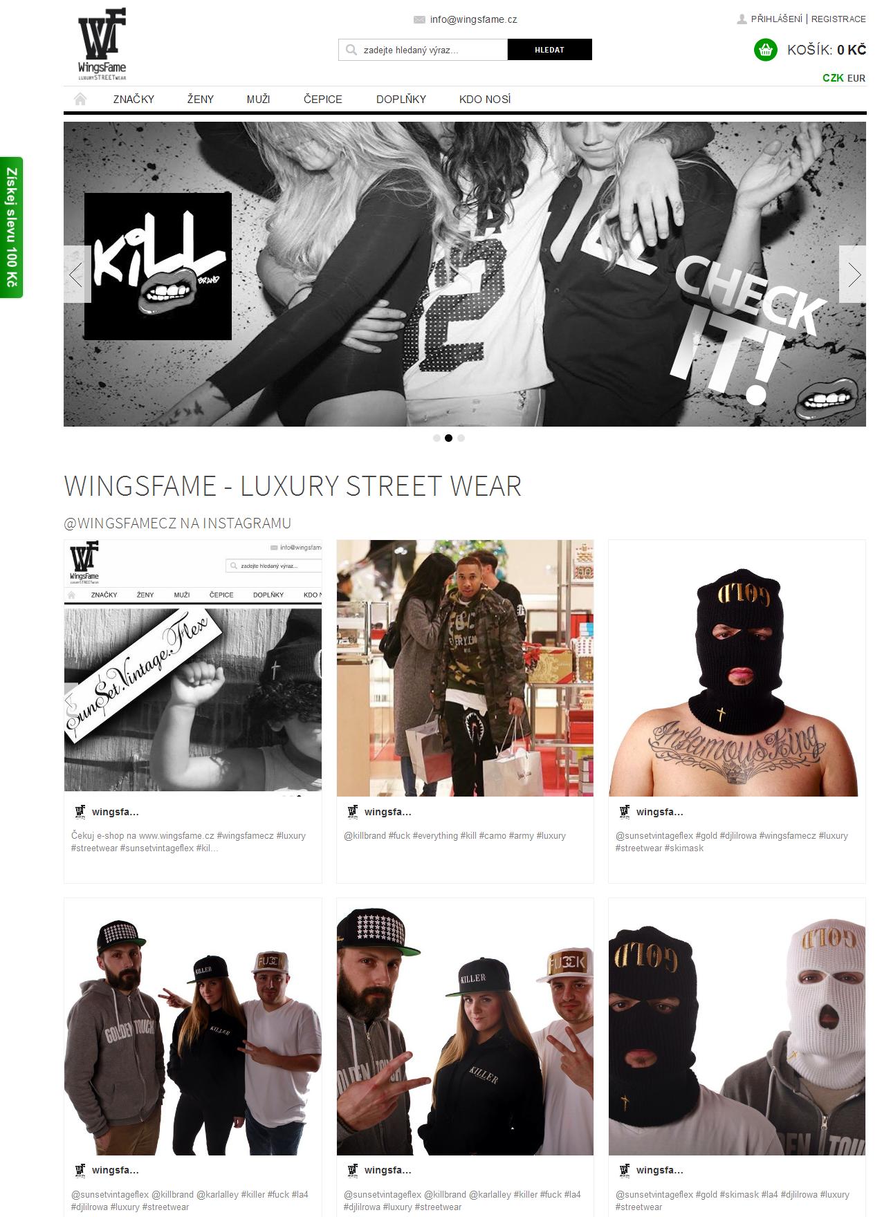 Luxury streetwear shop Wingsfame.cz homepage
